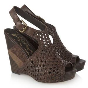 Sam Edelman Brown Kasi Woven Leather Wedge Sandals